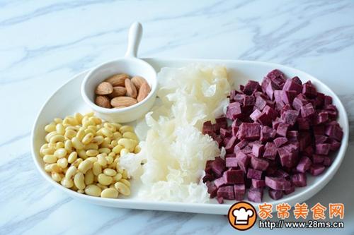 紫薯银耳杏仁豆浆