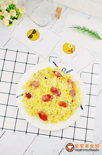 香肠黄金蛋炒饭的做法图解5