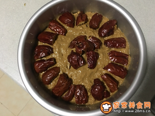 红糖红枣核桃发糕的做法图解2