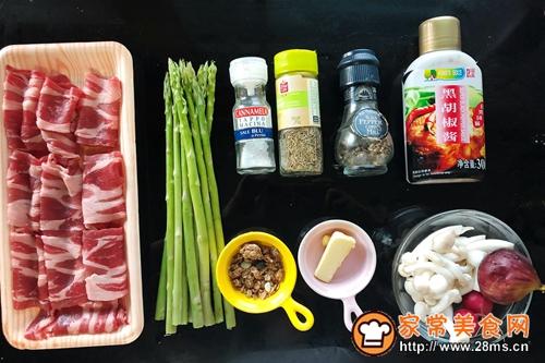 生煎芦笋白玉菇肥牛卷的做法图解1