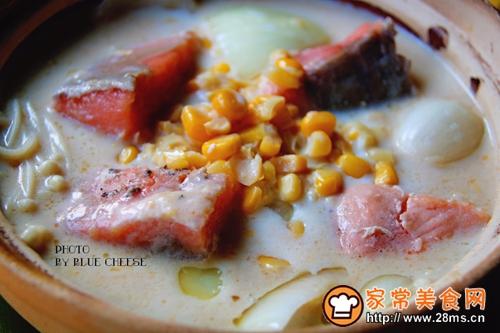 奶油三文鱼味噌汤锅的做法图解8