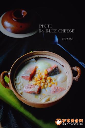 奶油三文鱼味噌汤锅的做法图解9