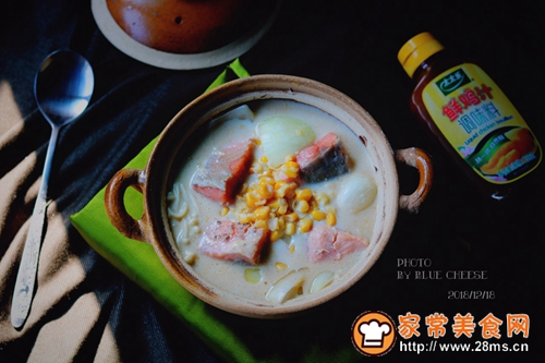 奶油三文鱼味噌汤锅的做法图解10