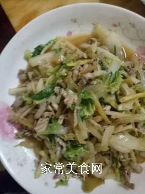 白菜榨菜炒肉片的做法步骤:6