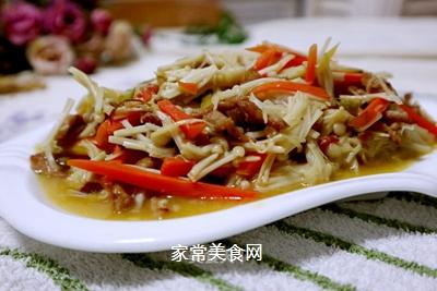 肉丝炒金针菇的做法
