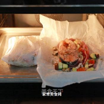 包烘什锦三文鱼的做法步骤:15