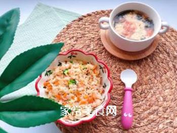 【宝宝辅食】三文鱼耳光炒饭的做法步骤:15
