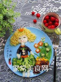 卷发女孩创意儿童餐的做法步骤:11