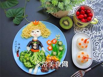 卷发女孩创意儿童餐的做法