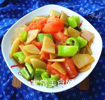 尖椒番茄土豆片的做法步骤:7