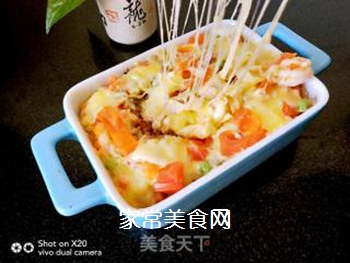 鲜虾�h饭的做法步骤:6