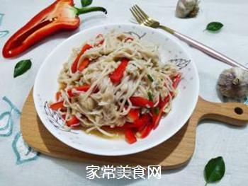 红椒拌金针菇的做法步骤:15