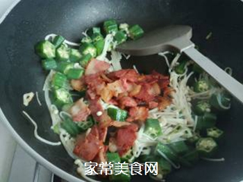 秋葵培根金针菇的做法步骤:9