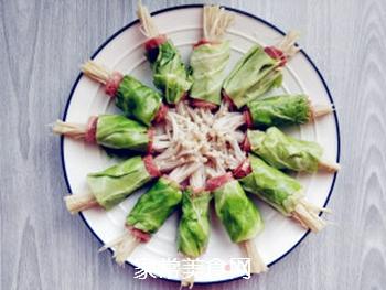 培根金针菇包菜卷的做法步骤:8
