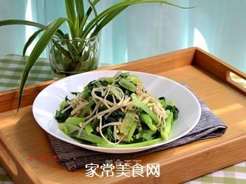 金针菇炒青菜的做法