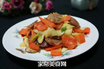 腊肠炒杏鲍菇的做法步骤:6