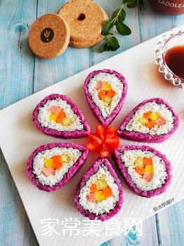 紫薯花瓣寿司的做法
