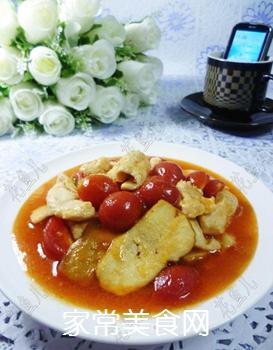香干圣女果炒鸡胸肉的做法