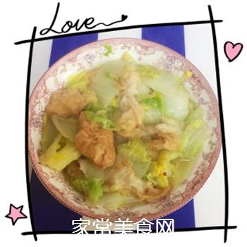 杭白菜炒油面筋的做法步骤:6