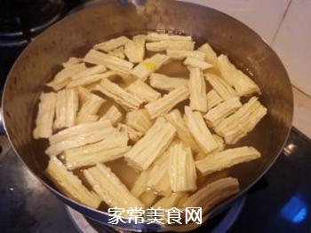 西芹拌腐竹的做法步骤:4