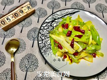 青椒炒笋片#下饭菜的做法步骤:9