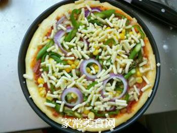 培根火腿蔬菜披萨的做法步骤:15