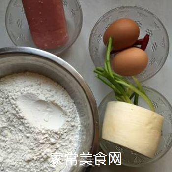 萝卜丝火腿鸡蛋饼的做法步骤:1