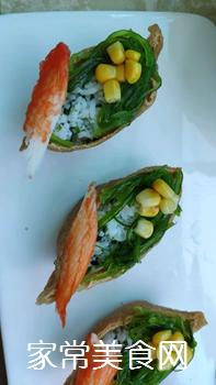 #爽口凉菜,开胃一夏!#鱼子酱小船寿司的做法图解9
