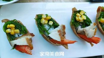 #爽口凉菜,开胃一夏!#鱼子酱小船寿司的做法图解11