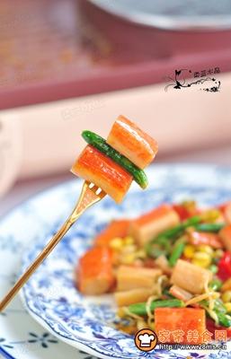 黄瓜花炒即食蟹棒的做法图解7
