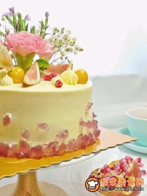 6寸处女座紫水晶鲜花蛋糕的做法图解22