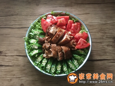 简单快手秋葵卤鸡沙拉的做法图解7