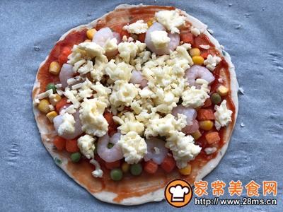 手抓饼版蔬菜虾仁披萨的做法图解5