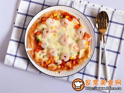 手抓饼版蔬菜虾仁披萨的做法图解8