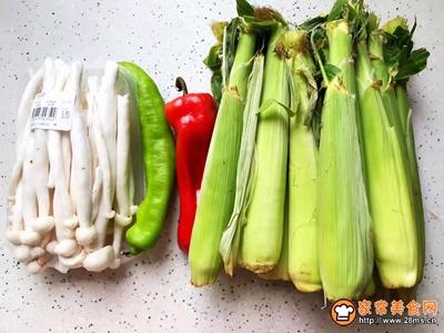 白玉菇炒玉米笋的做法图解1