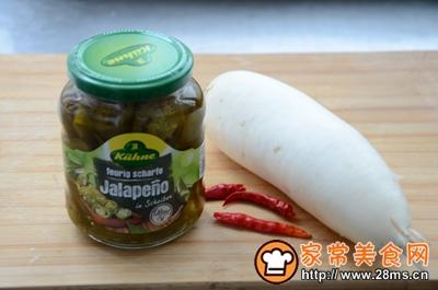 辣椒圈白萝卜泡菜的做法图解1