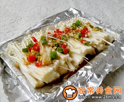 做正宗简单必做的蒜蓉烤金针菇的图片步骤3