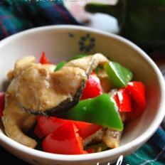 双椒豉油黑鱼片