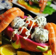 鲜虾什锦火龙果盅