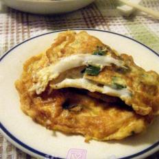 香葱银鱼煎鸡蛋角