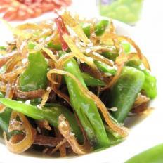 银鱼干炒绿椒