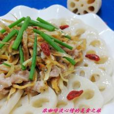 银鱼肉丝蒸藕片