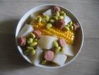 玉米腊肠萝卜毛豆汤
