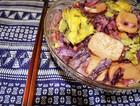 紫甘蓝鸡蛋炒年糕