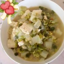 妈妈做的奶白菜炖豆腐