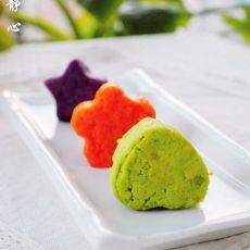 胡萝卜青豆紫薯泥