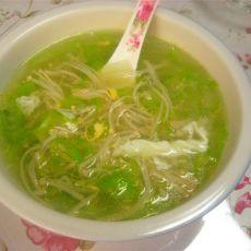 丝瓜金针菇鸡蛋汤