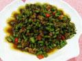 榄菜肉末炒豆角