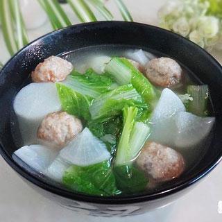 肉丸青菜萝卜汤