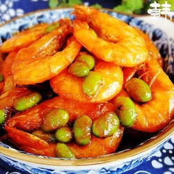 韩式大虾焖毛豆